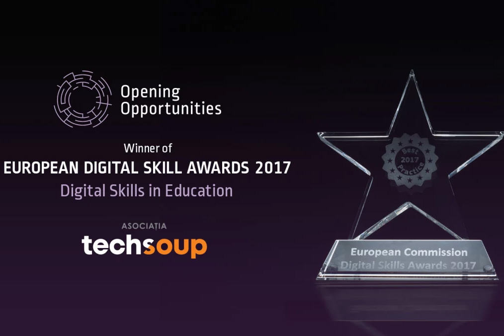 Photo of The grand prize at the European Digital Skills Awards 2017
