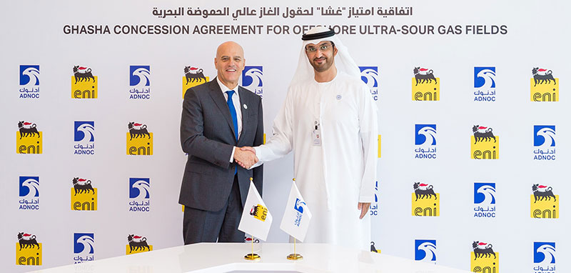 The concession, which has a term of 40 years, was signed by His Excellency Dr. Sultan Ahmed Al Jaber, UAE Minister of State and ADNOC Group CEO and Claudio Descalzi, CEO of ENI.
