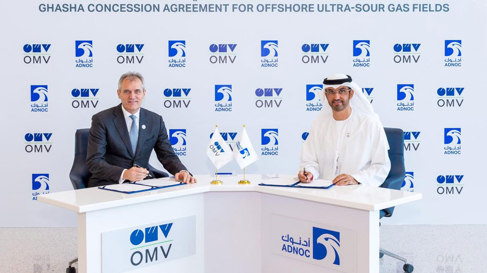The-concession-was-signed-by-His-Excellency-Dr.-Sultan-Ahmed-Al-Jaber,-UAE-Minister-of-State-and-ADNOC-Group-CEO-and-Dr-Rainer-Seele,-Chairman-of-the-OMV-Executive-Board-and-CEO