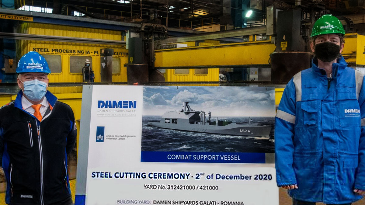 Damen-Cuts-First-Steel-on-Royal-Netherlands-Navys-Combat-Support-Ship-at-Shipyards-Galati