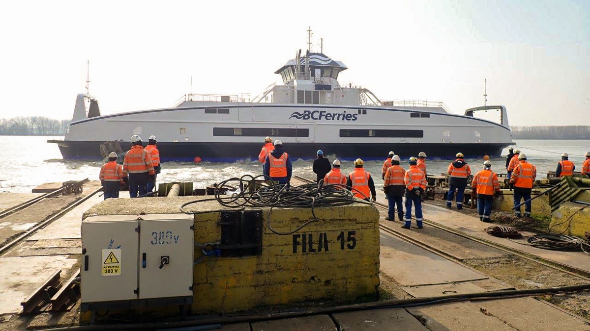 BC-Ferries-Fifth-Battery-Hybrid-electric-Vessel-Launched-at-Damen-Shipyards-Galati